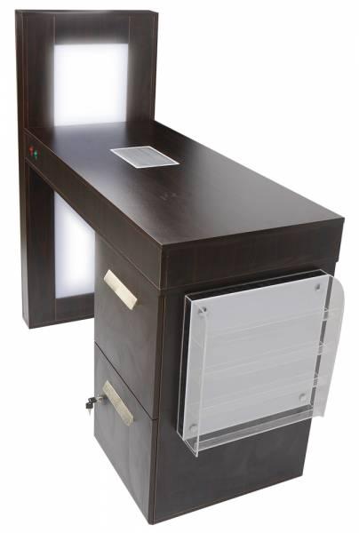 601026 Profi-Manikürtisch braun mit LED-Beleuchtung